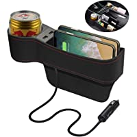 Fincy Palmoo Car Seat Gap Filler, PU Leather Organizer Pockets with Cup Holder, USB Charging Car Console Side Organizer…