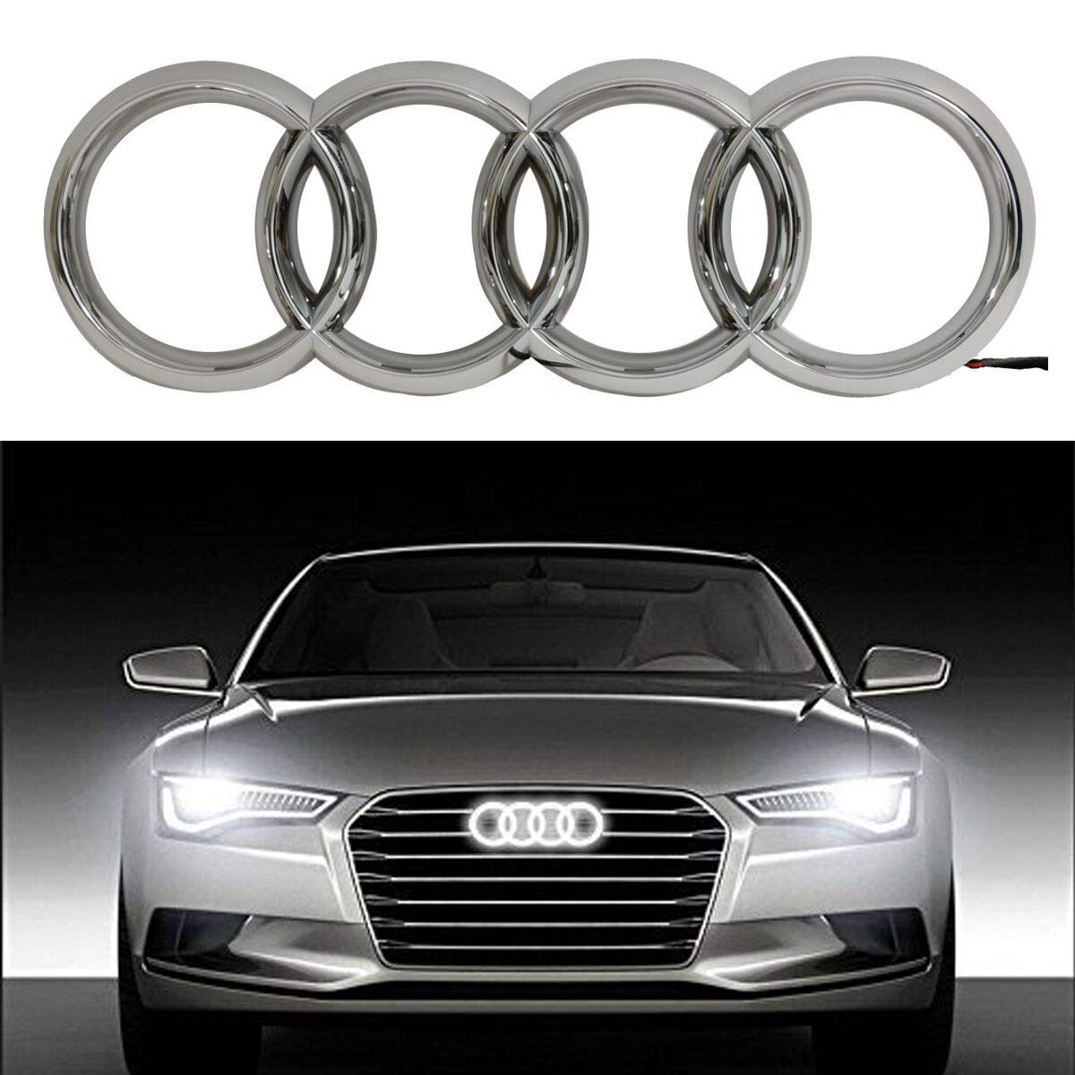 Bearfire Cool LED Emblem Logo Grid LED Badge Front Light For AUDI A3 S3 RS3  A4 A5 A6(white)