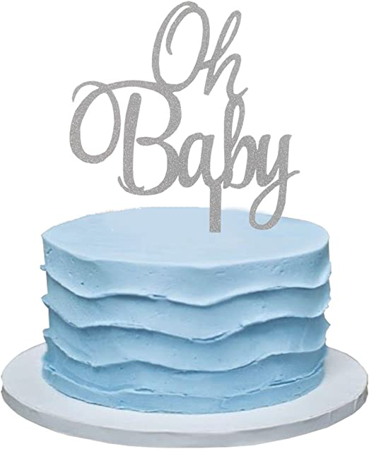 INNORU Blue Glitter Oh Baby Cake Topper Boy and Girl Baby Shower Party Supplies Decor