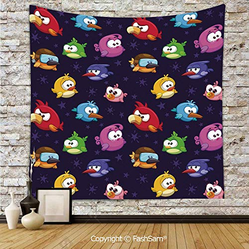 FashSam Tapestry Wall Hanging Angry Flying Birds Figure with Various Expressions Game Toy Kids Babyish Artsy Image Tapestries Dorm Living Room Bedroom(W51xL59) -