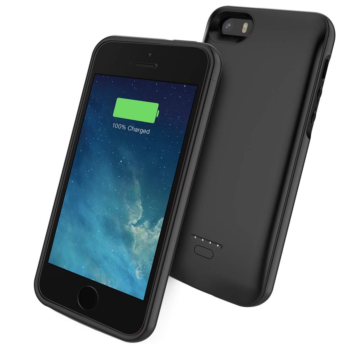 Scheam Funda iPhone SE 5SE 5 5S 4000mAh Estuche batería Delgado Funda Backup Cargador Batería Charging Case Carcasa Portable Power Bank a Prueba de ...