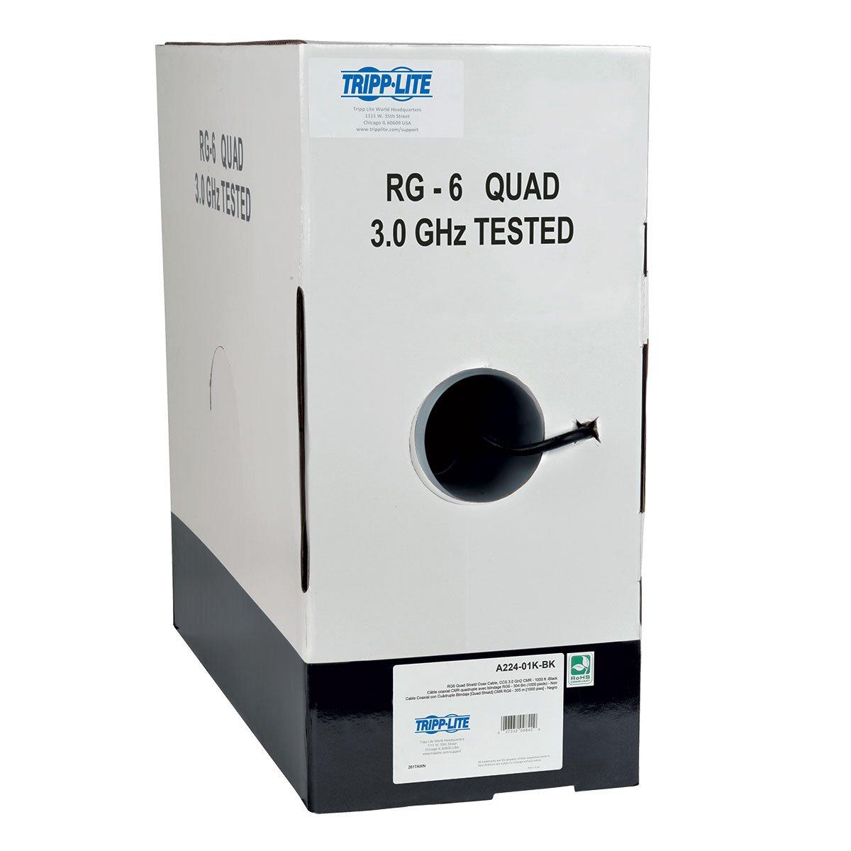 Tripp Lite RG6/U Quad-Shield Coaxial Bulk Cable, CMR-Rated, Black, 1000 ft. (A224-01K-BK)