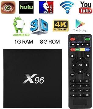 Android TV Box - Smart TV Box con Quad Core X96 Android 6.0 TV Box Amlogic S905 1G RAM 8GB ROM H.265 64 Bit WiFi di Aoxun [Versione 2018]: Amazon.es: Electrónica