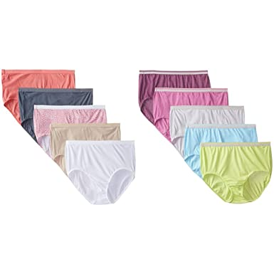 266804a7a9d Fruit Of The Loom Women s Plus Size Fit For Me 5 Pack Cotton Brief   5 Pack  Heather Brief Panties at Amazon Women s Clothing store
