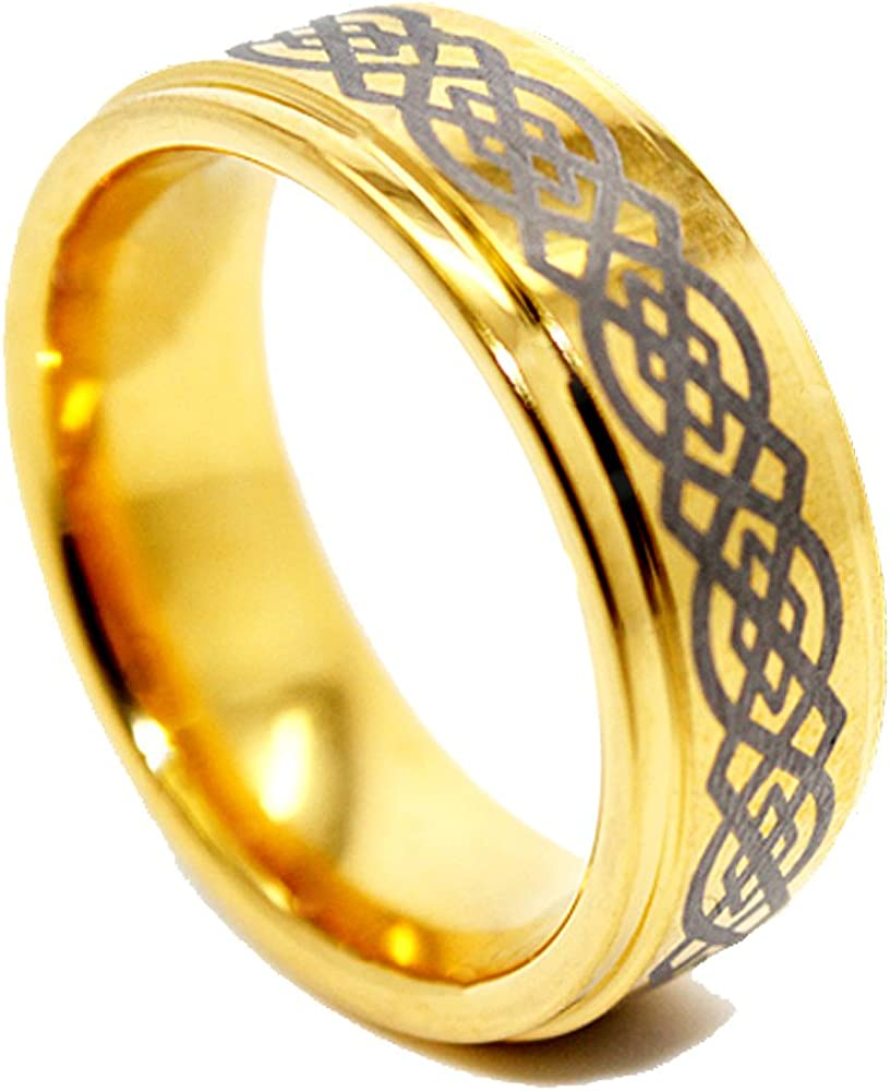 US Sizes 6-16 Blue Chip Unlimited 8mm Celtic Knot Golden Colored Tungsten Wedding Band