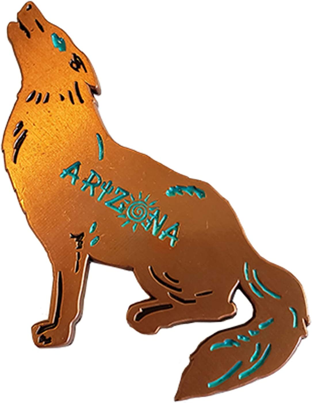 Coyote Magnet (Bronze) Decorative Metal Refrigerator Magnet Southwest Gift Idea - Arizona Souvenir