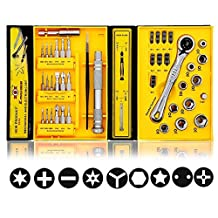 Mini Flex-head Ratcheting Screwdriver Set, with Micro Screw Driver Bits and Metric Socket Sets (41 IN 1)