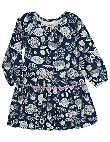 Hatley Little Girls' Pom Pom Dress Field Flowers, Blue, 4T by Hatley