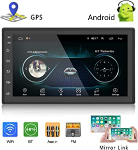 Podofo Car GPS Navigation Stereo - Double Din Android Head Unit with Bluetooth 7 inch LCD Touch Screen 1G + 16G Support FM Radio/WiFi/GPS Navigation