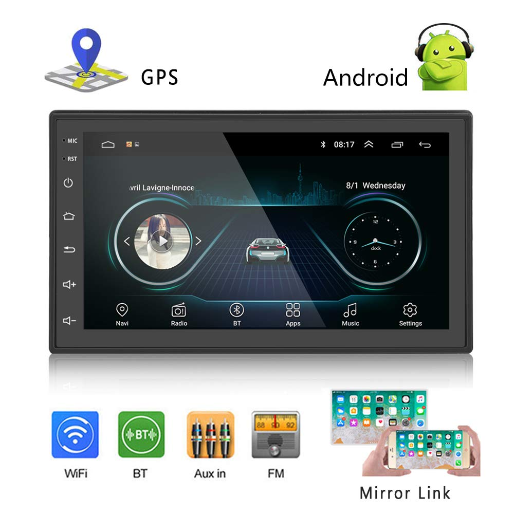Podofo Car GPS Navigation Stereo - Double Din Android Head Unit with Bluetooth 7 inch LCD Touch Screen 1G + 16G Support FM Radio/WiFi/GPS Navigation by podofo