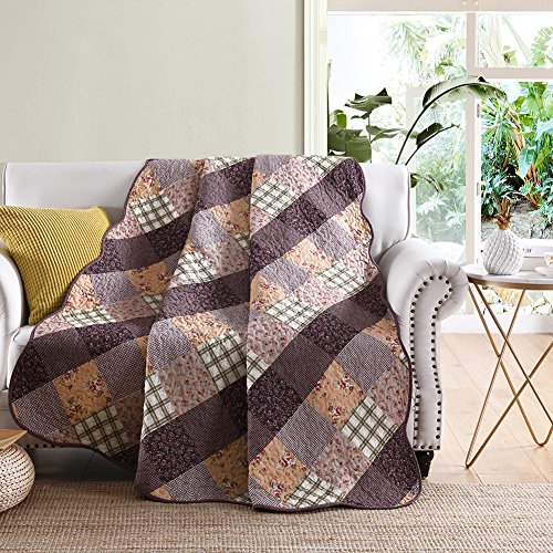 NEWLAKE Quilted Throw Blanket for Bed Couch Sofa, Classic Paris Checkered Style, 60X78 Inch