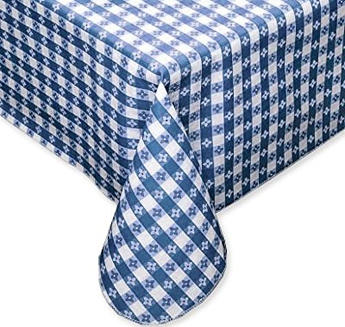 (Tavern Check Classic Restaurant Quality Flannel Back Vinyl Tablecloth, 52x52 Square, Blue & White )