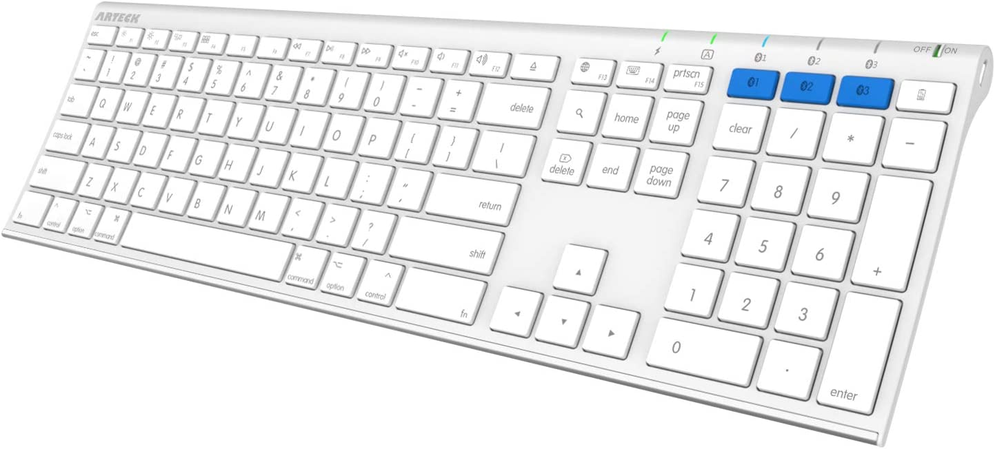 Arteck Bluetooth Keyboard for Mac Multi-Device Stainless Steel Full Size Wireless Keyboard for iMac, iMac Pro, Mac Pro, Mac Mini, MacBook, Mac OS, iOS, Built-in Rechargeable Battery