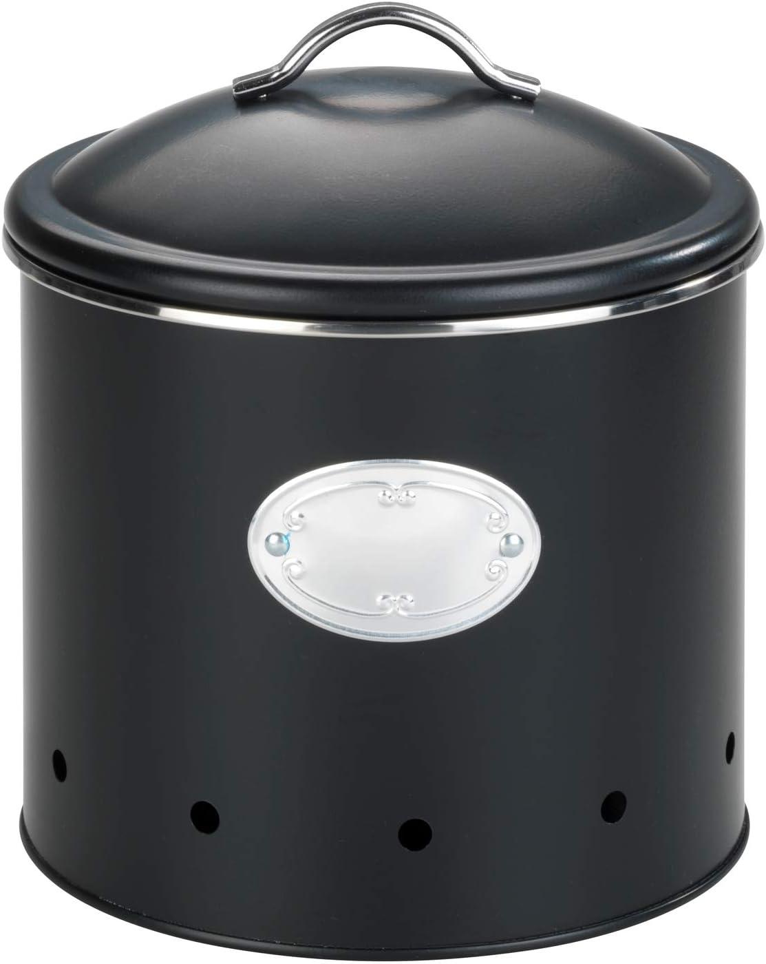 Traspirante 4,0 L Wenko Contenitore Nero con Fori per Alimenti Metallo Verniciato a Polvere capacit/à 4 l