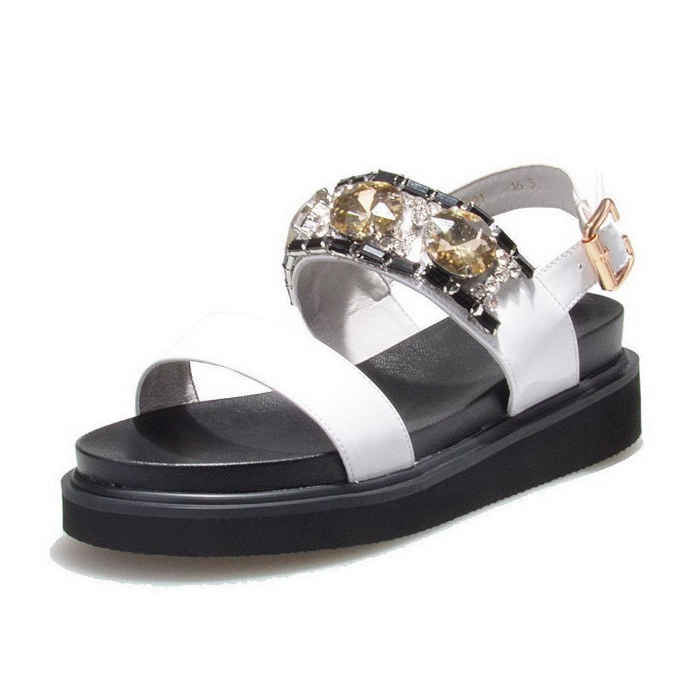 AmoonyFashion Women's Cow Leather Solid Buckle Open Toe Kitten-Heels Sandals, White, 39