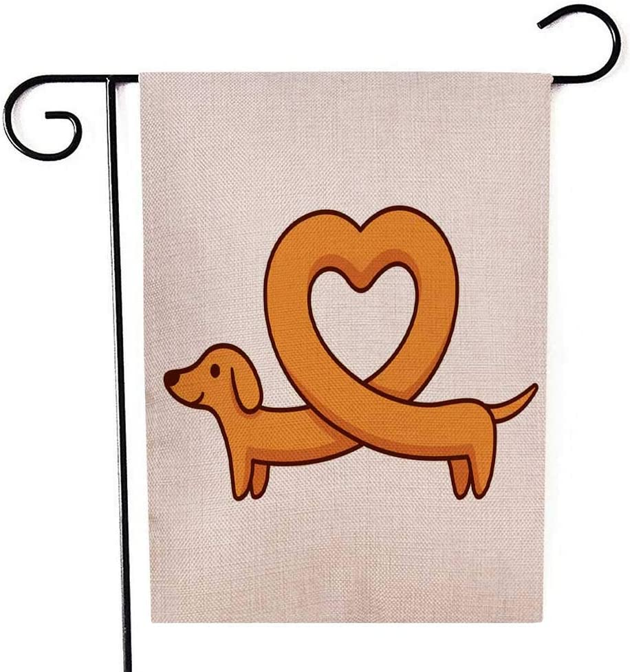TOMWISH Garden Flags Decorative Holiday Decorative Garden Outdoor Flags Cute Cartoon Dachshund Heart Shaped Body Funny Long Wiener Dog St Valentines Day Double-Sided 12.5X18 Inches Christmas Flag