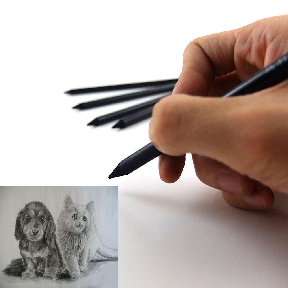 10pcs no madereros negro carb/ón estudiante artista Sketch Dibujo L/ápices de colores Set