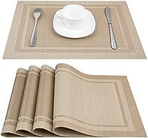 Artand Placemats, Heat-Resistant Placemats Stain Resistant Anti-Skid Washable PVC Table Mats Woven Vinyl Placemats, Set...