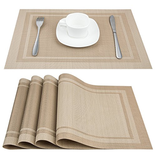 Artand Placemats, Heat-Resistant Placemats Stain Resistant Anti-Skid Washable PVC Table Mats Woven Vinyl Placemats, Set of 4 (Beige)