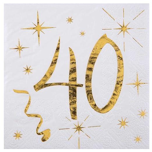 Chal 20 servilletas cumpleaños 40 años métallisées: Amazon ...
