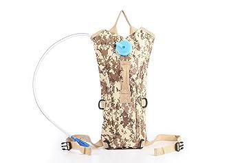 aogolouk 3 L Bolsa de agua mochila de senderismo Camelback Nylon Camuflaje Mochila de hidratación, Desert Camouflage-tan: Amazon.es: Deportes y aire libre