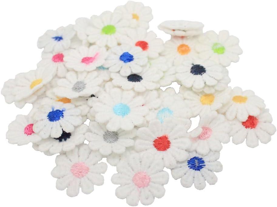 50Pcs Daisy Flower Sew On Patch Embroidey Motif Kids Children Girls Women Fabric Applique