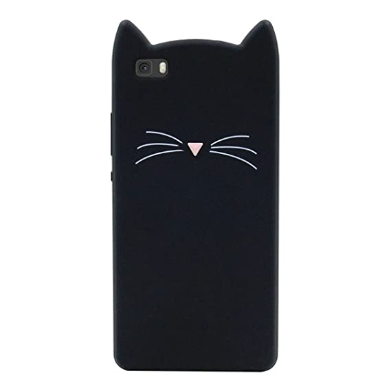 save off db28f f9d26 Huawei P8 Lite Case, MC Fashion Cute 3D Black Meow Party Cat Ears Kitty  Whiskers Slim Soft Protective Silicone Case for Huawei P8 Lite (2015)  (Black)