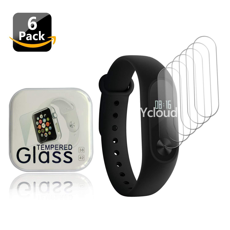 Ycloud [6-Unidades Protector de Pantalla para Xiaomi Band 2 Smartwatch Total Cobertura Protector HD Transparente Suave Pet Film Anti-Burbuja