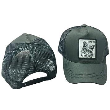 CADANIA Unisex Animal Bordado Parche Algodón Malla Gorra de béisbol Camionero Sombrero Snapback Fox Gris: Amazon.es: Hogar
