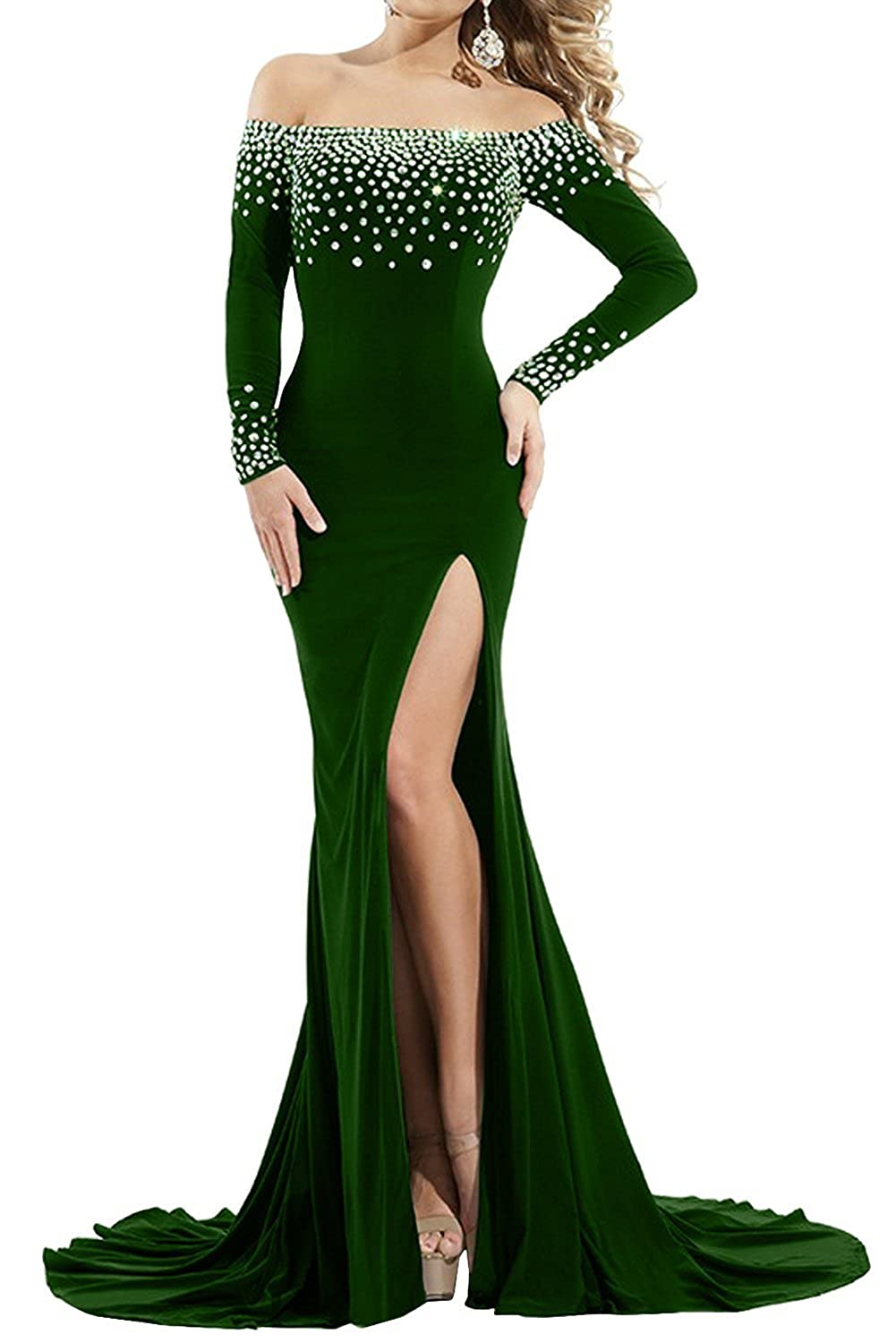 Emerald Green Sweet Bridal Women's Long Sleeve Off Shoulder Split Rhinestone Evening Dress