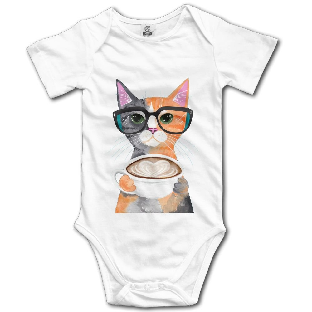 Rainbowhug Cat Cappuccino Coffee Unisex Baby Onesie Cute Newborn Clothes Concise Baby Outfits Comfortable Baby Clothes