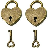 mciskin Mini candado de estilo antiguo con llave, estilo antiguo, 2 juegos (corazón)