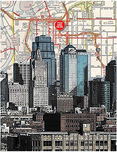 - Kansas City Skyline. Gallery quality, souvenir fine art print. YOU ARE HERE, original map print, 8.5