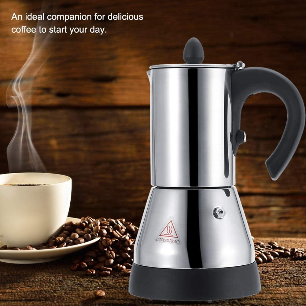 2021 Neu Elektrische Kaffeemaschine 200//300ml Espresso-Kaffeekanne aus Edelstahl mit EU-Stecker 220V f/ür den Heimgebrauch in der K/üche 300 ml