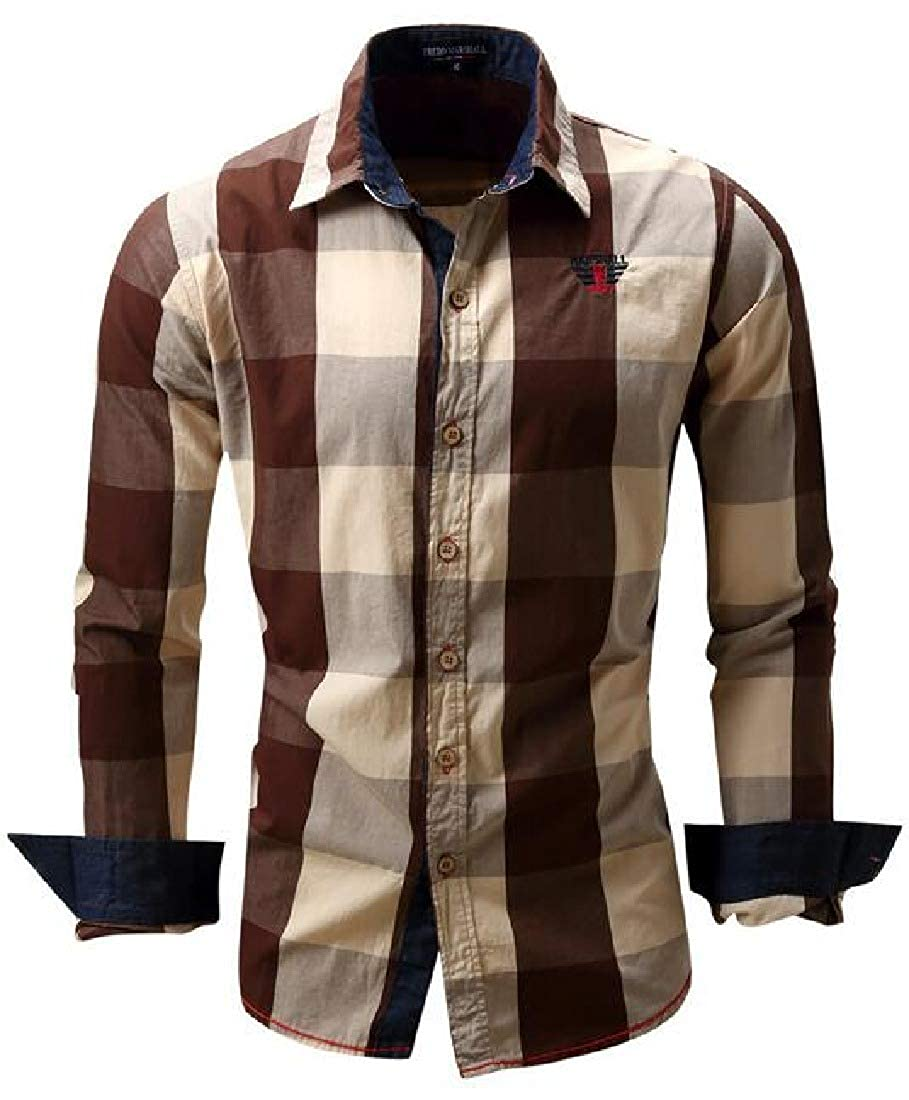 Zantt Mens Long Sleeve Contrast Button Up Checkered Slim Fit Casual Shirt Top