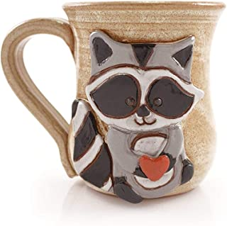 product image for Love Bandit Mug - American Made Stoneware Pottery with Sculpted Raccoon, 14-oz