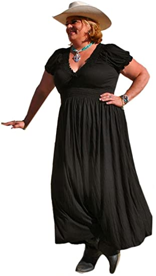 Maxi Plus Size Peasant Dress By Bbw Boutique In Black Size 1x2x