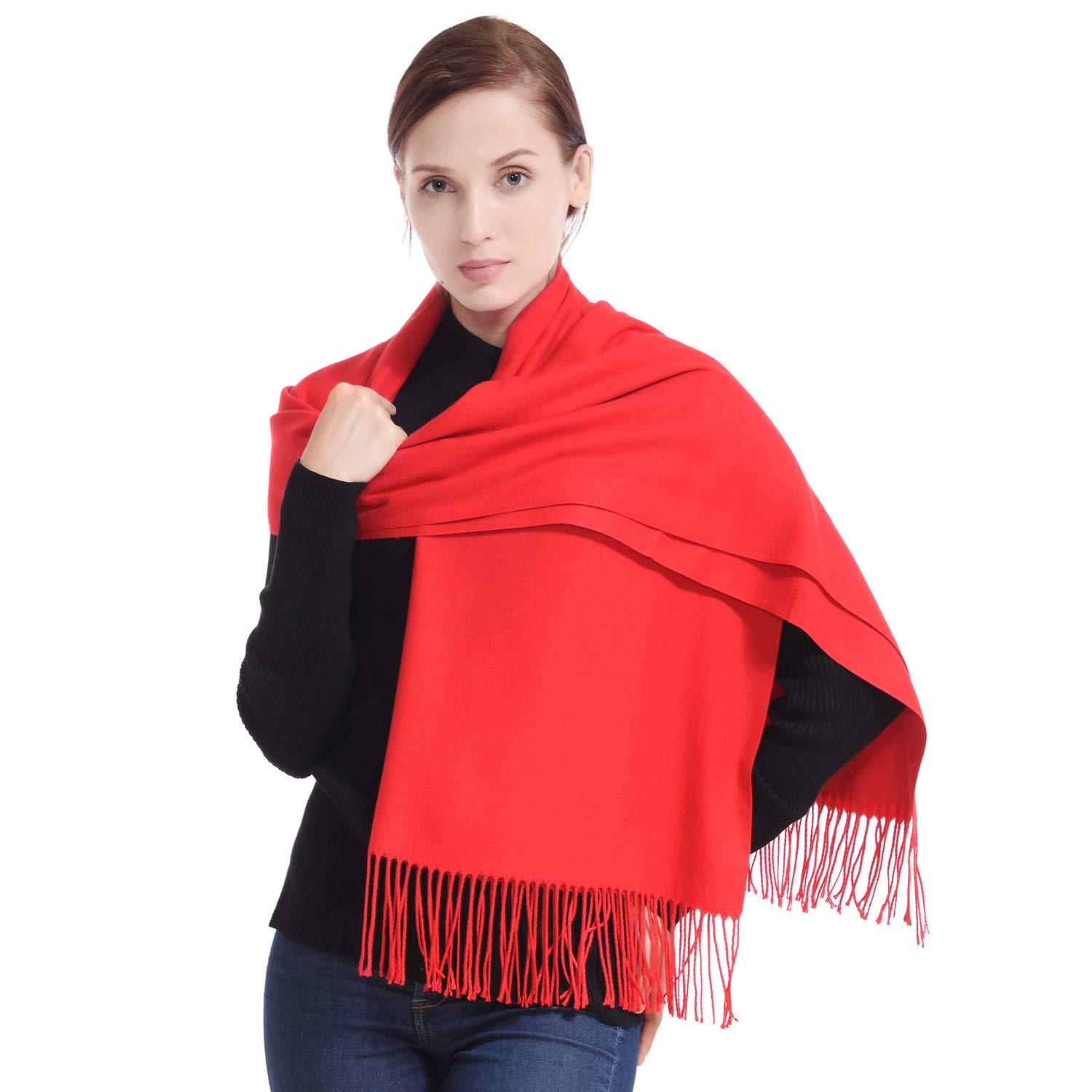 LERDU Womens Cashmere Scarf Wool Wrap Shawl Winter Collection Red  82'' x 23''