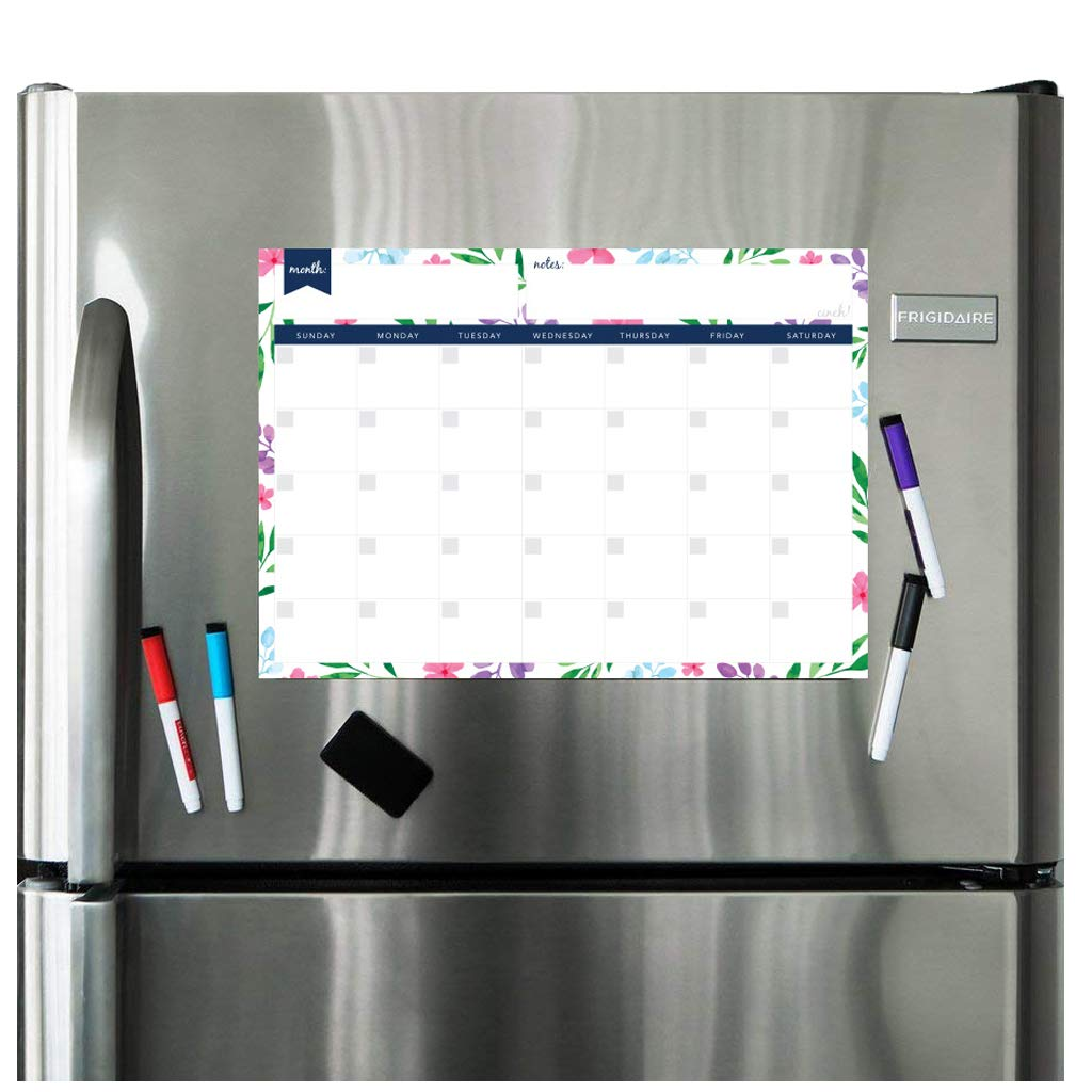 Magnetic Dry Erase Calendar for Fridge: with Stain Resistant Technology - Two Sizes - 4 Fine Tip Markers and Large Eraser with Magnets: Monthly Whiteboard Organizer - Refrigerator White Board