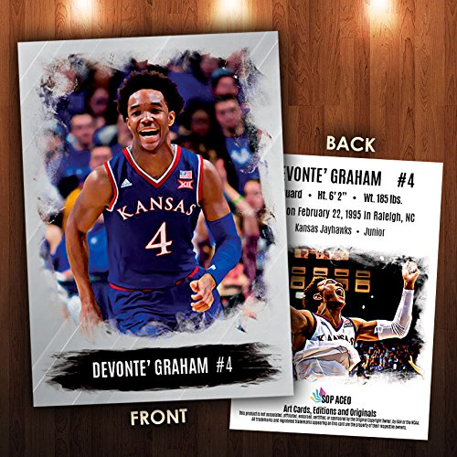 Devonte' Graham 2016-17 Basketball Card Kansas Jayhawks NEW! SOP ACEO Cards