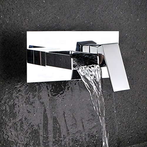 KunMai Modern Waterfall Square Wall Mount Bathroom Sink Faucet with Open Spout Polished Chrome by KunMai