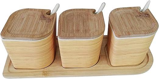 Saleros y pimenteros,Recipientes para Especias de bambú,(7cm x 7cm ...