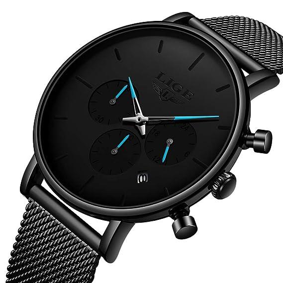 Relojes Hombre LIGE Reloj Hombre Elegante Cuarzo Prueba Agua Relojes Moda Cuero Clásico Cinturones Relojes Deportivo Hombres …