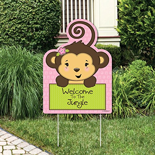 Big Dot of Happiness Pink Monkey Girl - Party Decorations - Birthday Party or Baby Shower Welcome Yard Sign