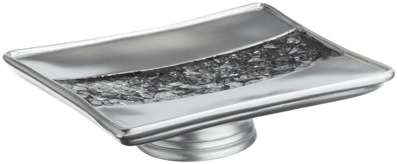 Popular Bath ''Sinatra Silver'' 6 Piece Resin Bath Accessory Set, Cracked Glass