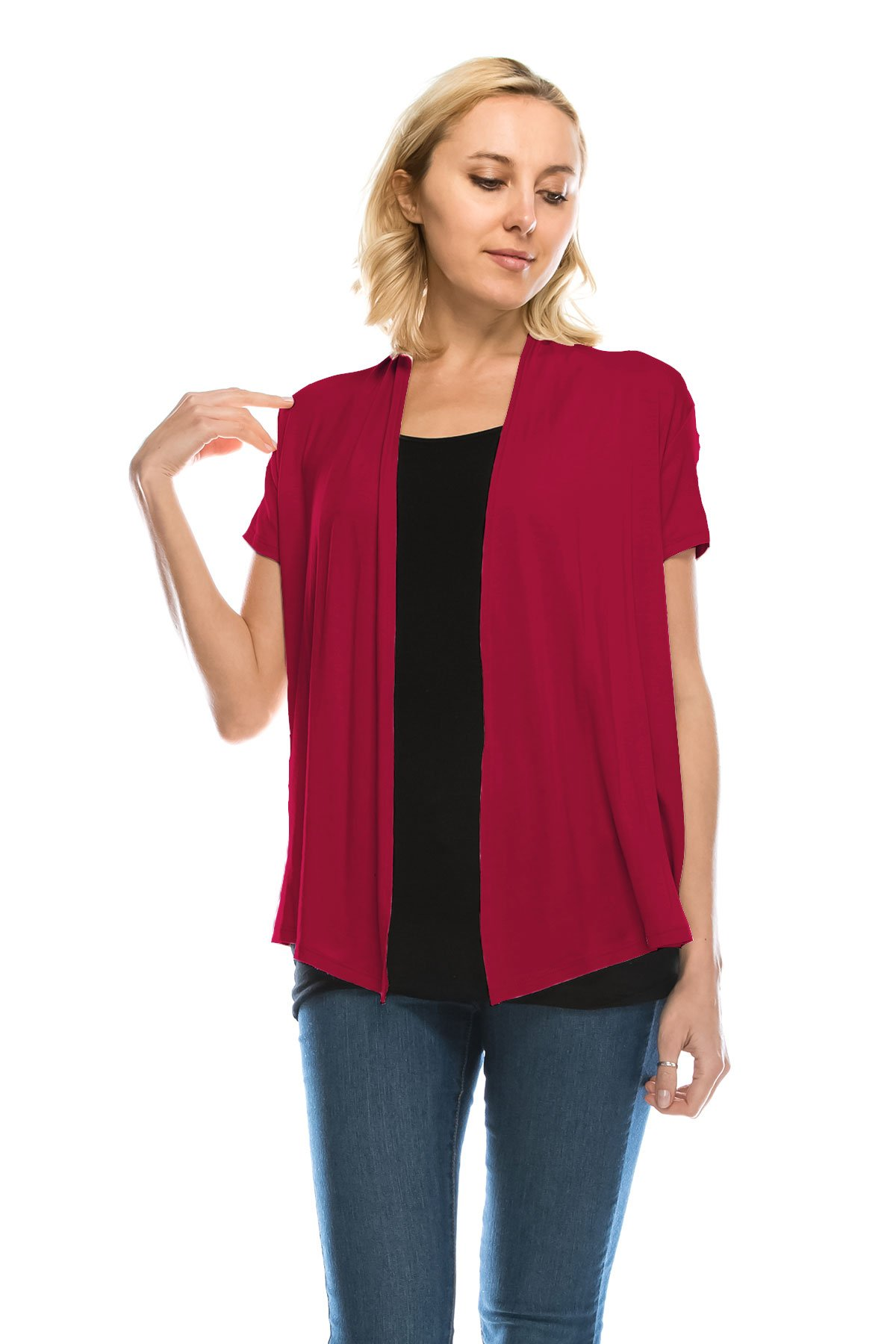 J Doe Style Women's Soft Drape Cardigan Short Sleeve Made In USA(Size :S-5X), L, Wine