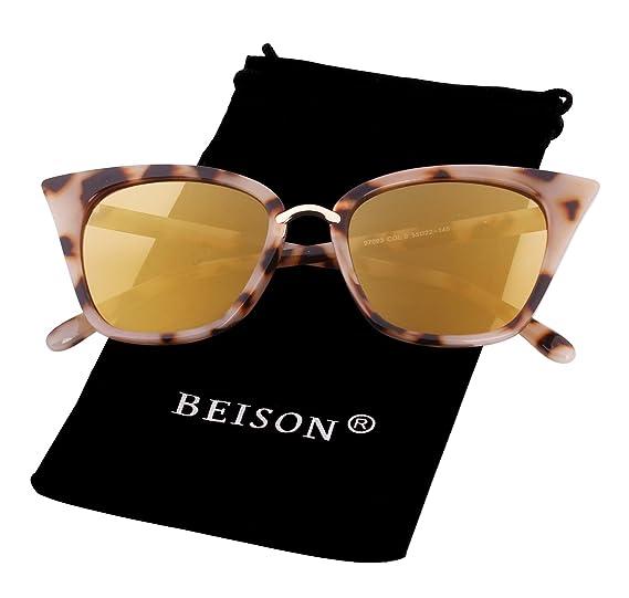 d9218a0c4f38e Beison Womens Cat Eye Mod Fashion Sunglasses Eyeglasses (Beige Gold mirror