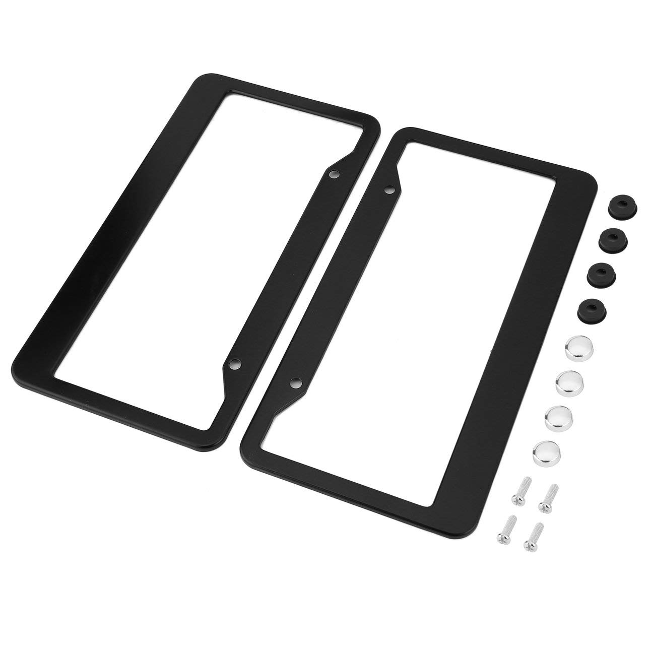 2pcs Black Aluminum Alloy Car Auto Vehicles License Plate Frame Tag Cover Holder with Screw Caps Car Styling Black