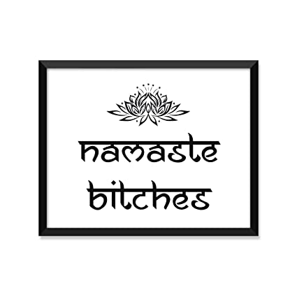 Namaste bitches yoga poster zen buddha minimalist poster home decor