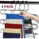 Alfie Trouser Hangers - Pants Hangers Sturdy S-type Stainless Steel Trousers Rack - 5 layers Multi-Purpose - Space Saver Storage Rack for Pants/Towel/ Scarf etc (4 PCS)